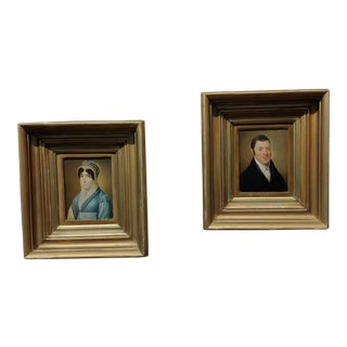 Portraits of Husband & Wife -18th Century English School-Oil Painting -A Pair For Sale