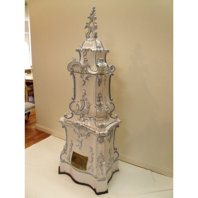 Art Nouveau Italian Ceramic Delft Terracotta Parlor Stove For Sale - Image 3 of 13