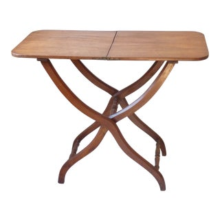 19th C. English Mahogany Folding Coaching Table For Sale