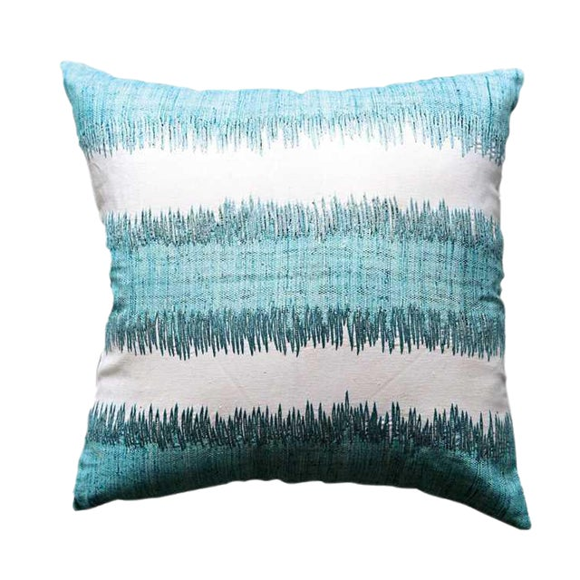 Mid Century Modern Flax Aqua Pillow With Embroidery - Image 1 of 2