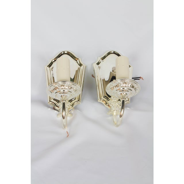 1920s 1920s Silver Plated Sconces - a Pair For Sale - Image 5 of 5