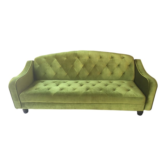 Anthropologie Green Velvet Tufted Convertible Sofa For Sale