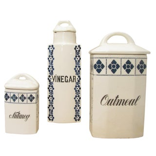 Blue & White Canisters, S/3 For Sale