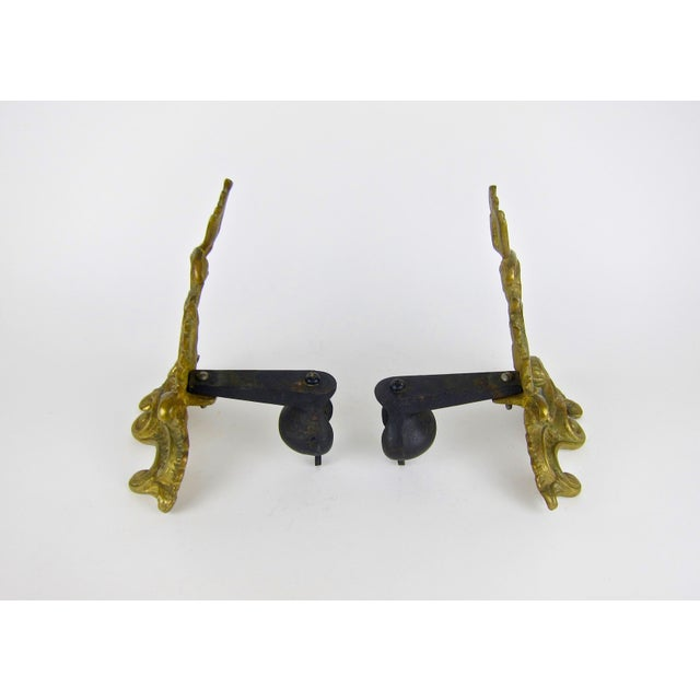 Antique Louis XV Style Pair of Fireplace Chenets or Andirons For Sale - Image 9 of 10