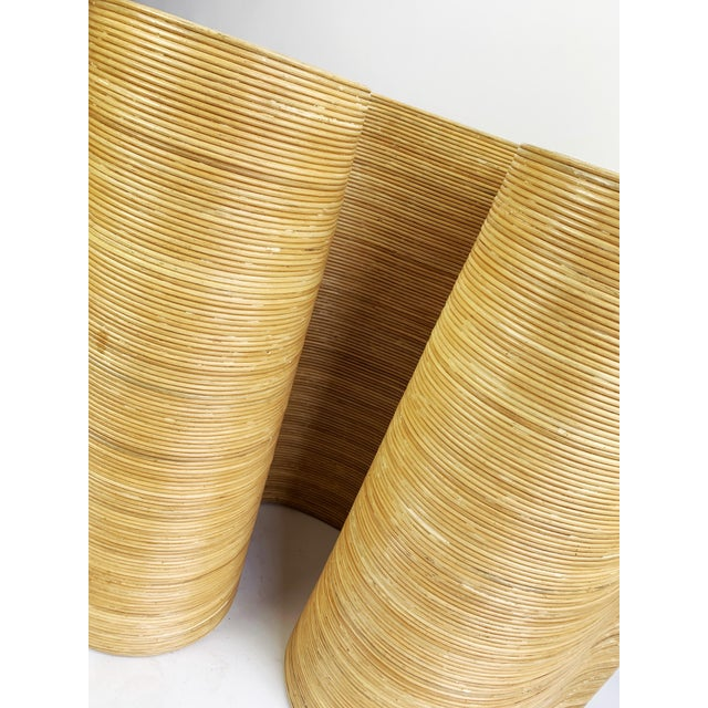 Pencil Reed Bamboo Curvy Ribbon Scroll Console Aft Gabriella Crespi For Sale - Image 9 of 13