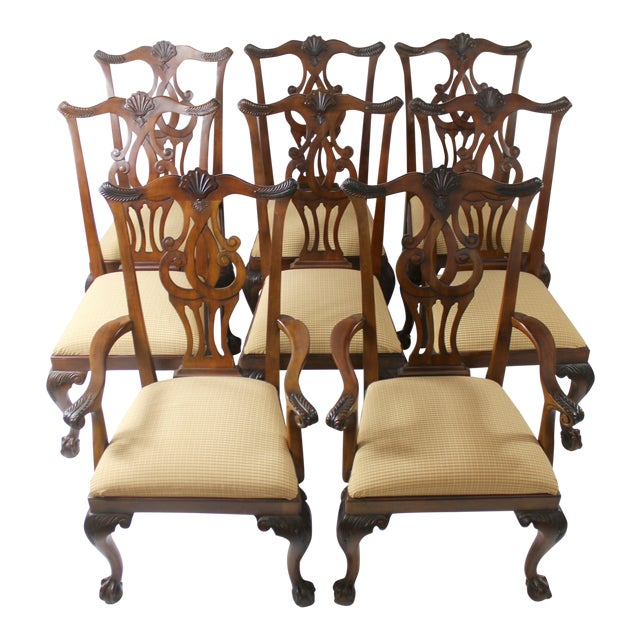 Chippendale Style Dining Chairs - Set of 8 For Sale