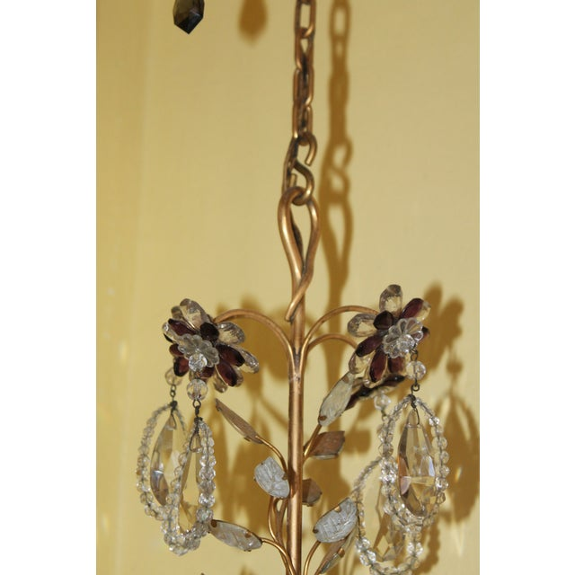 Very fine c1940's Hollywood Regency Maison Bagues Dore Bronze and Crystal Beading/ Petals/ Crystal Flowers. 4 lights,...