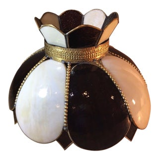 Vintage Brass Slag Lampshade with White and Brown Glass Panels For Sale