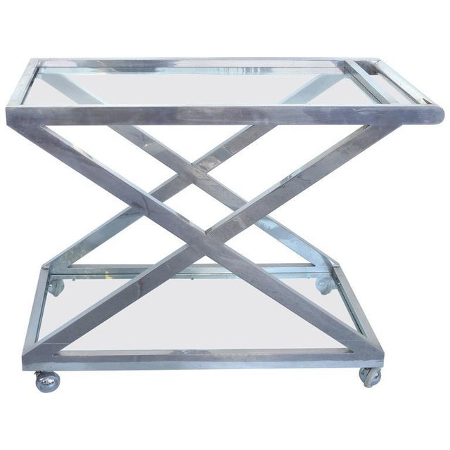 Mid-Century Modern Nickel-Plated Tea Trolley or Bar Cart For Sale - Image 9 of 9