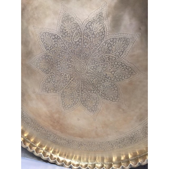 Brass Large Mid-Century Round Brass Tray Table on Folding Stand For Sale - Image 7 of 12