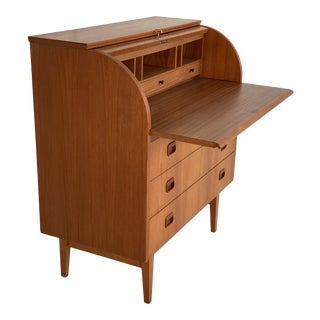 Mid Century Teak Danish Rolltop Desk Secretary For Sale