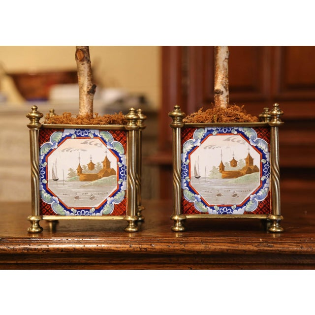 English English Brass Jardinières With Hand Painted Porcelain Tiles - a Pair For Sale - Image 3 of 10