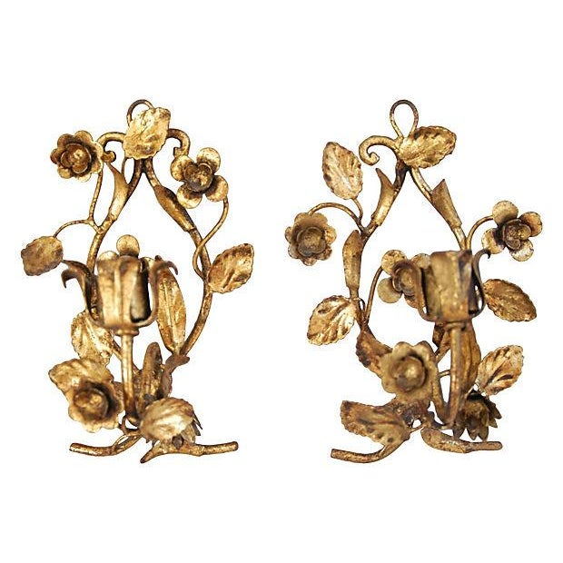 Italian Gold Gilt Candle Sconces - Set of 3 - Image 3 of 4