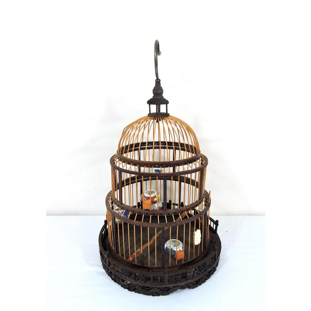 Vintage Chinese Bamboo Bird Cage With Porcelain Bowls, Cicadas & Dragon Decorations For Sale - Image 4 of 10