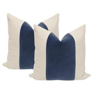 """18"""" Prussian Blue Velvet Panel & Linen Pillows - a Pair"""