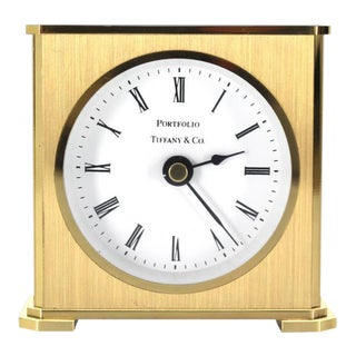 Early 20th Century Vintage Brass Case Tiffany Desk Clock For Sale