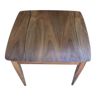 Mid Century End Table With Turquoise Inlay For Sale