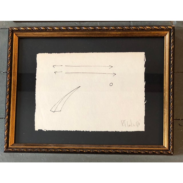 2 Original Ink Drawings on uneven paper Signed bottom right Approx 5 x 7 Overall size with vintage frames is 8 x 10.5