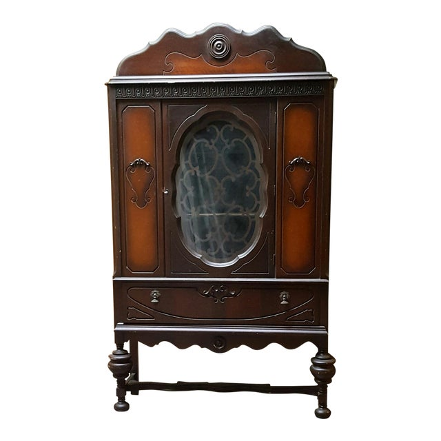 Antique Art Deco Waterfall Armoire - Vintage Waterfall Hutch China Cabinet For Sale