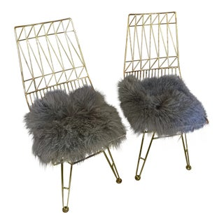 Contemporary Gold Steel Chairs - A Pair For Sale