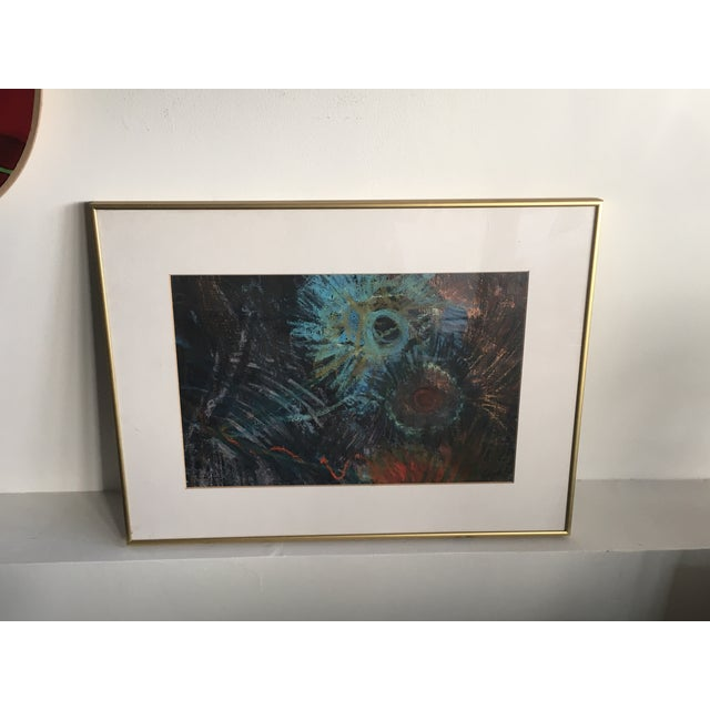 Fern Samuels Arc Gallery Turquoise Flower Painting - Image 2 of 7