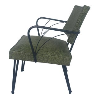 1950s Mid-Century Modern Iron & Sage Vinyl Accent Chair For Sale