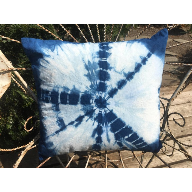 Shibori Chic Indigo Hand Dyed Throw Pillows - a Pair For Sale In Portland, OR - Image 6 of 8