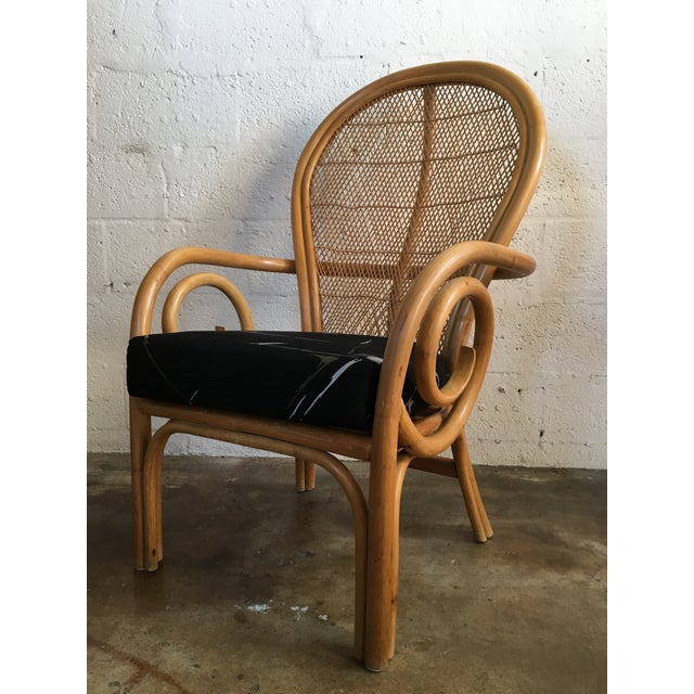 Tan Vintage Mid Century Modern Bamboo Rattan Accent Chair. For Sale - Image 8 of 8