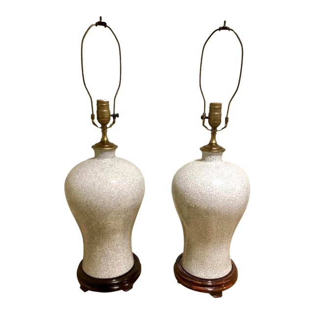 Chinoiserie Crackle Vase Table Lamps -- a Pair For Sale