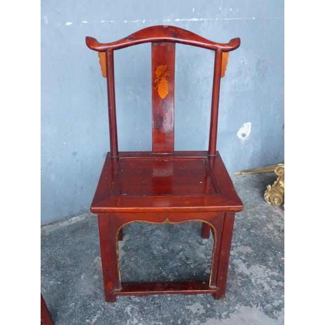 Pair of 19th Century Red Lacquer Ming Chairs For Sale - Image 10 of 13