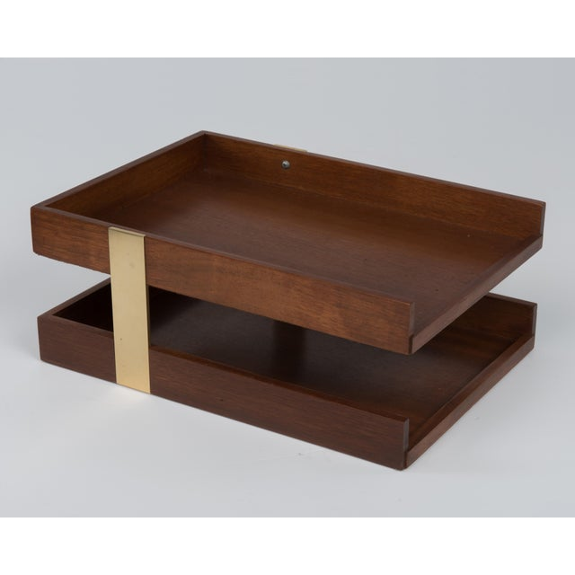 Vintage Mid Century Brass Walnut Office Two Tier Letter Tray Organizer For Sale - Image 4 of 11