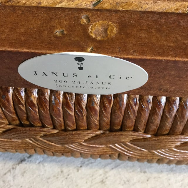 Glass Janus Et Cie Wicker & Glass Top End Tables For Sale - Image 7 of 11