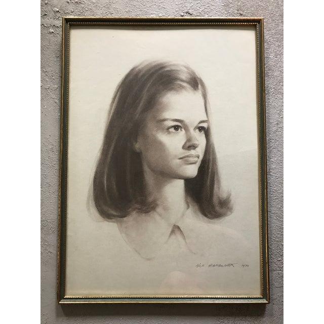 Vintage Portrait Drawing of Girl - Image 2 of 5
