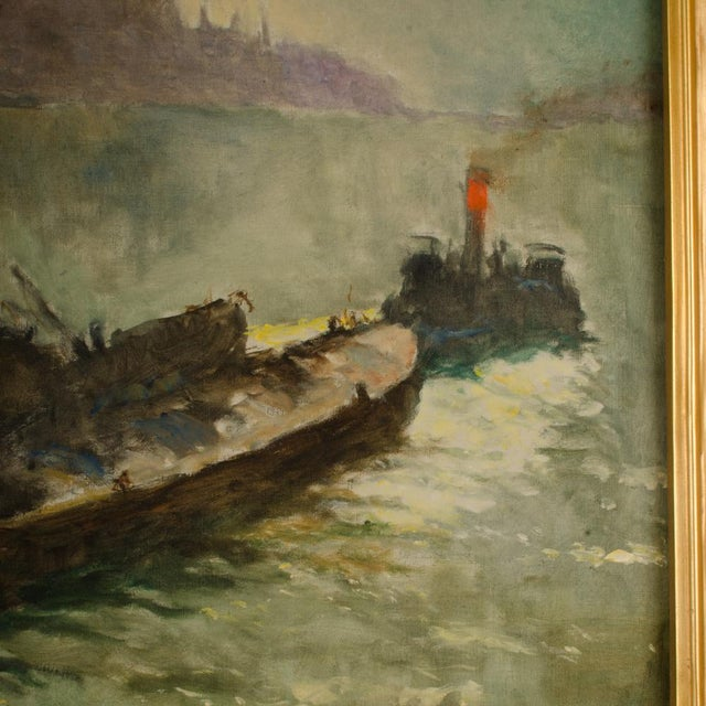 "Canvas Early 20th Century ""Towboat"" Nautical Oil Painting by Pal Fried, Framed For Sale - Image 7 of 12"