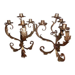 Pair of Italian Silver Gilt Four Light Tole Candle Holders Candelabra Lights For Sale