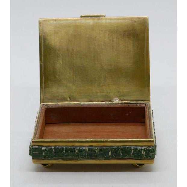 Mosaic Glass and Brass Box For Sale - Image 4 of 6