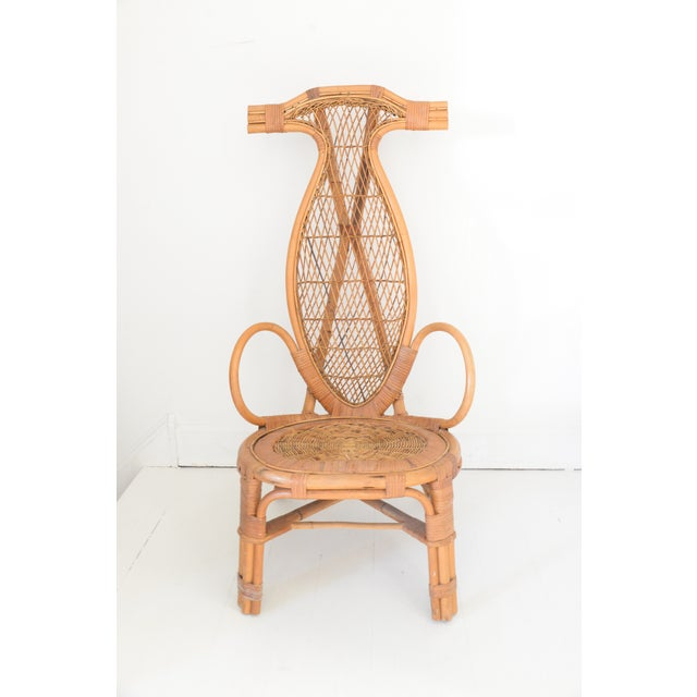 Mid Century Rattan Horn Chair For Sale - Image 4 of 4