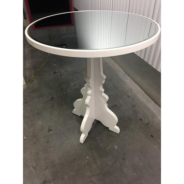Round White Beveled Mirror Entry Table - Image 5 of 6