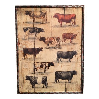 Framed Vintage Cow Breeds Illustration For Sale