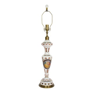 Restored Early 20th Century White Bohemian Overlay Glass Table Lamp With Hand Painted Baroque Couple. For Sale