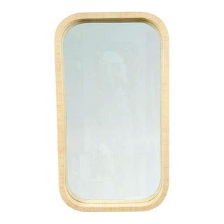 Radius Corner Grass Cloth Wrapped Frame Mirror For Sale