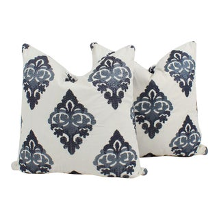 Embroidered Medallion Batik Pillows, a Pair For Sale