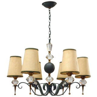 French Mid-Century Leleu Brass Chandelier For Sale