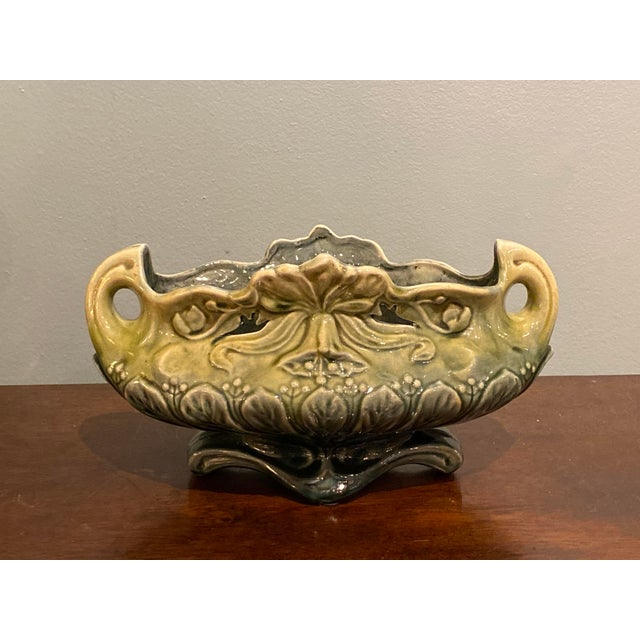 Majolica Planter Vases and a Cachet Pot - Set of 3 For Sale - Image 9 of 11