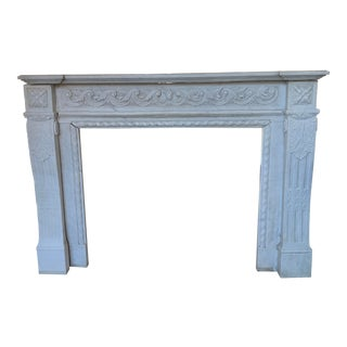 1900s Hand Carved White Marble Fireplace Mantel For Sale