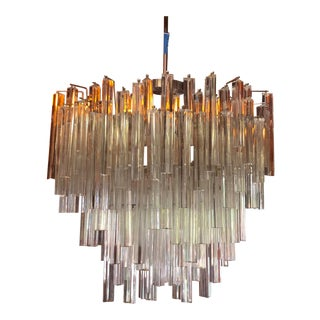 Murano Clear Glass Oval Tiered Chandelier For Sale