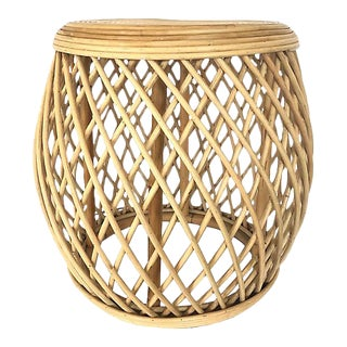 Natural Bamboo/Rattan Side Table For Sale