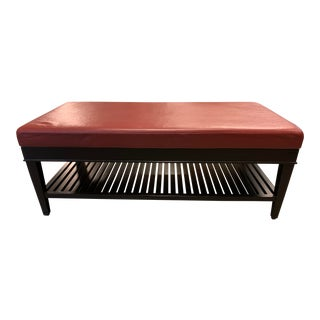 A.Rudin #652 Custom Leather + Wood Bench For Sale