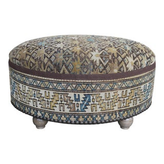Antique Hand-knotted Rug Ottoman For Sale