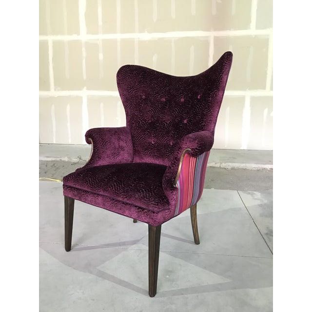 1940s Vintage Butterfly Wingback Fireside Chair Attributed to Grosfeld House Designers Guild Velvet For Sale - Image 9 of 12